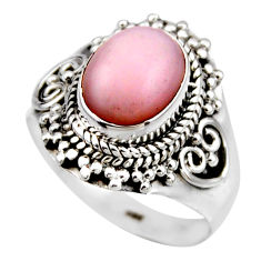 4.30cts natural pink opal 925 sterling silver solitaire ring size 7.5 r53462