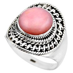 4.70cts natural pink opal 925 sterling silver solitaire ring size 7.5 r53463