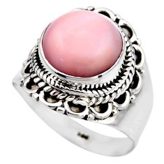 4.84cts natural pink opal 925 sterling silver solitaire ring size 6.5 r53466