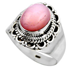 3.93cts natural pink opal 925 sterling silver solitaire ring size 7.5 r53468