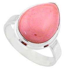10.23cts natural pink opal 925 sterling silver solitaire ring size 8.5 r66179