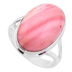 12.55cts natural pink opal 925 sterling silver solitaire ring size 8.5 r66200