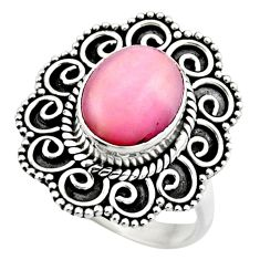 4.30cts natural pink opal 925 sterling silver solitaire ring size 6 r53130