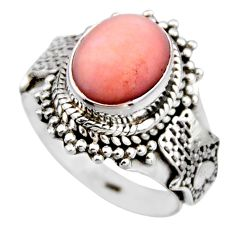 4.02cts natural pink opal 925 sterling silver solitaire ring size 6 r53461
