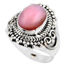 4.07cts natural pink opal 925 sterling silver solitaire ring size 6 r53467