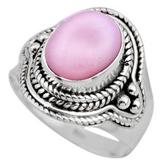 4.23cts natural pink opal 925 sterling silver solitaire ring size 6 r53527