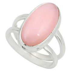 5.79cts natural pink opal 925 sterling silver solitaire ring size 7 r27242