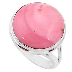 12.58cts natural pink opal 925 sterling silver solitaire ring size 7 r66185