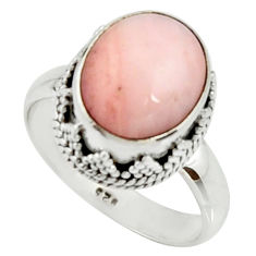 5.52cts natural pink opal 925 sterling silver solitaire ring size 8 r22012