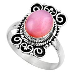 4.22cts natural pink opal 925 sterling silver solitaire ring size 8 r53125