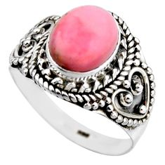 4.30cts natural pink opal 925 sterling silver solitaire ring size 8 r53465