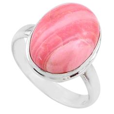 9.49cts natural pink opal 925 sterling silver solitaire ring size 9 r66196