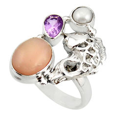 6.89cts natural pink opal amethyst 925 sterling silver fish ring size 7 d46014