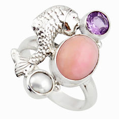 5.42cts natural pink opal amethyst 925 sterling silver fish ring size 7 d46042