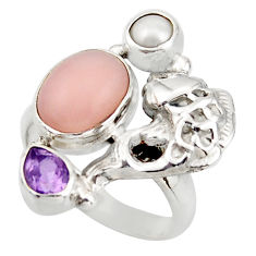 6.32cts natural pink opal amethyst 925 sterling silver fish ring size 7 d46047
