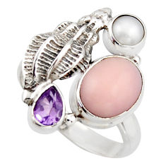 6.32cts natural pink opal amethyst 925 sterling silver ring size 8.5 d46043
