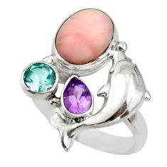 7.17cts natural pink opal amethyst 925 sterling silver ring size 8 r44923
