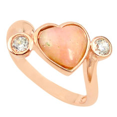 Natural pink opal heart topaz 925 silver 14k rose gold ring size 7 a68109 c15065