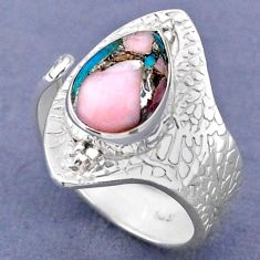 3.98cts natural pink opal in turquoise 925 silver adjustable ring size 7 r63301