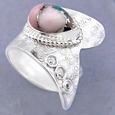 4.52cts natural pink opal in turquoise 925 silver adjustable ring size 8 r54829