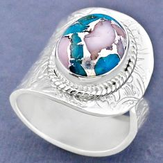 5.41cts natural pink opal in turquoise 925 silver adjustable ring size 8 r63366