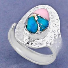 4.18cts natural pink opal in turquoise 925 silver adjustable ring size 8 r63413