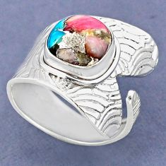 5.35cts natural pink opal in turquoise 925 silver adjustable ring size 9 r63355