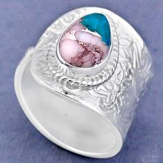 4.21cts natural pink opal in turquoise 925 silver adjustable ring size 9 r63365