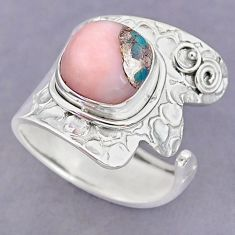 5.34cts natural pink opal in turquoise 925 silver adjustable ring size 9 r90589