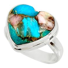 11.23cts natural pink opal in turquoise 925 sterling silver ring size 7 r34727