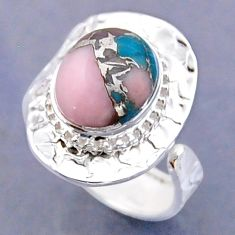 5.09cts natural pink opal in turquoise silver adjustable ring size 8.5 r54771