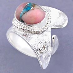5.27cts natural pink opal in turquoise silver adjustable ring size 7.5 r54831