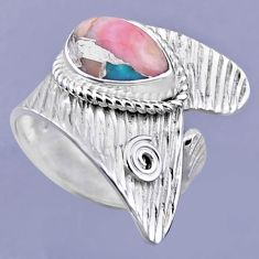 4.70cts natural pink opal in turquoise silver adjustable ring size 8.5 r54888