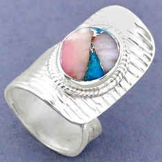5.12cts natural pink opal in turquoise silver adjustable ring size 5.5 r63269