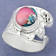 5.28cts natural pink opal in turquoise silver adjustable ring size 8.5 r63446