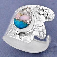 4.38cts natural pink opal in turquoise silver adjustable ring size 8.5 r63447