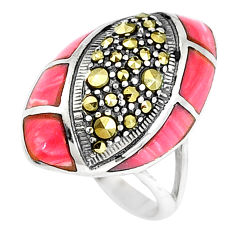 4.71cts natural pink opal marcasite 925 sterling silver ring size 6 c16395
