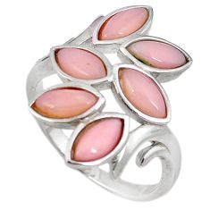 Natural pink opal marquise 925 sterling silver ring jewelry size 9 a59136 c15089