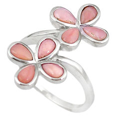 Natural pink opal pear 925 sterling silver ring jewelry size 8.5 a59138 c15050