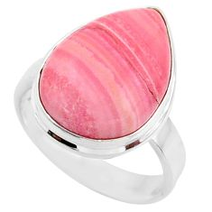 13.10cts natural pink opal pear 925 sterling silver solitaire ring size 8 r66165