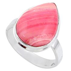 13.15cts natural pink opal pear sterling silver solitaire ring size 9.5 r66169