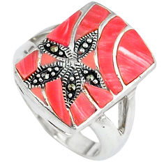 Natural pink opal swiss marcasite 925 sterling silver ring size 7.5 c16356