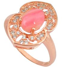 Natural pink opal topaz 925 silver 14k rose gold ring size 8.5 a59069 c15088