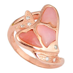 Natural pink opal topaz 925 silver 14k rose gold ring size 7.5 a59125 c15104
