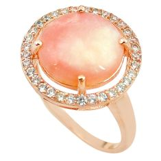 Natural pink opal topaz 925 silver 14k rose gold ring size 9.5 a68056 c15020