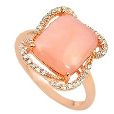 Natural pink opal topaz 925 silver 14k rose gold ring size 7 a68106 c15012