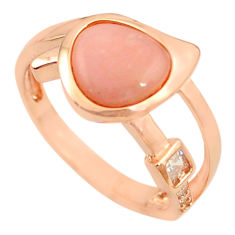 Natural pink opal topaz 925 silver 14k rose gold ring size 8 a68080 c15061