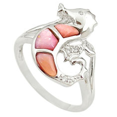 Natural pink opal topaz 925 silver seahorse ring jewelry size 9.5 a68259 c15191