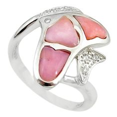 Natural pink opal topaz 925 sterling silver fish ring size 8.5 a68251 c15117