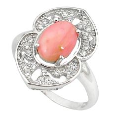 Natural pink opal topaz 925 sterling silver ring jewelry size 7.5 a59079 c15099